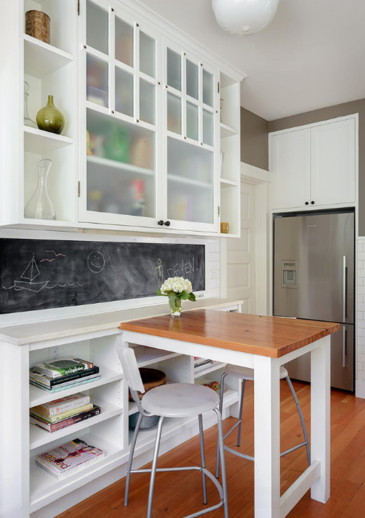 Грифельная доска в интерьере кухни - фото дизайн интерьера.