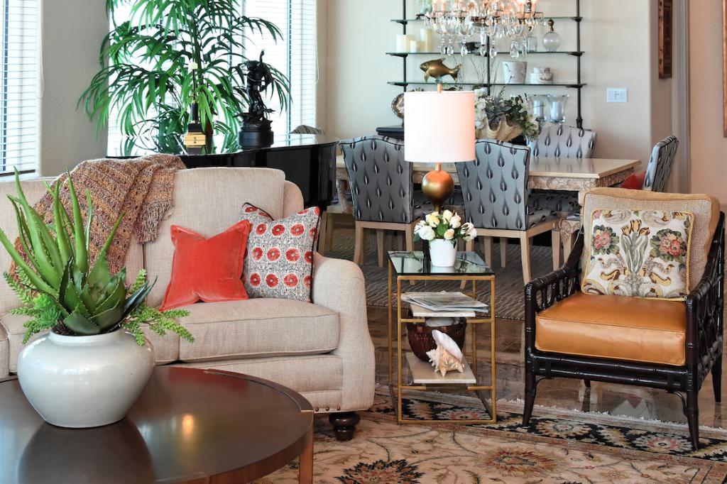Living Room Florida Oceanfront Penthouse, Longboat Key FL, Talie Jane Interiors