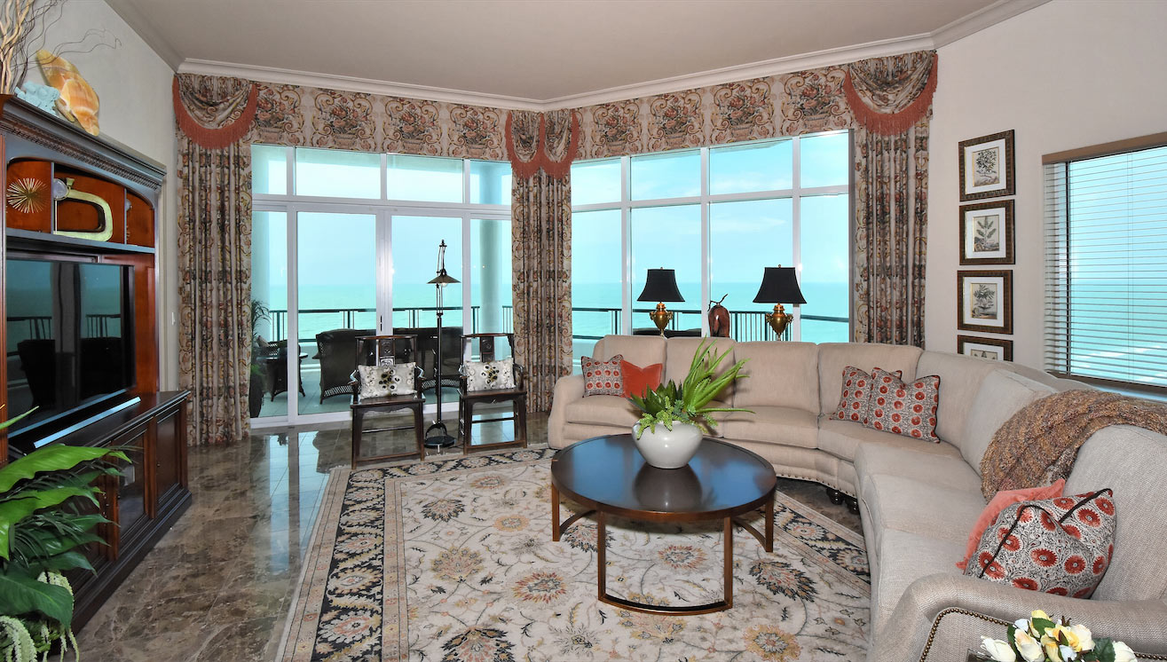 Oceanfront Penthouse Living Room by Talie Jane Interiors