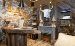 Reclaimed Wood used in trade show booth - Talie Jane Interiors  - South Lake Tahoe