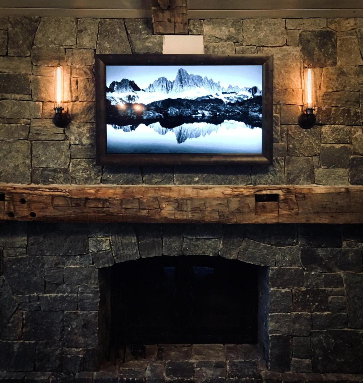 Framed Flat Screen TV above the mantel - Talie Jane Interiors